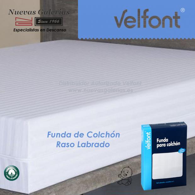 Funda de Colchón Raso labrado Blanco   Velfont CUNA