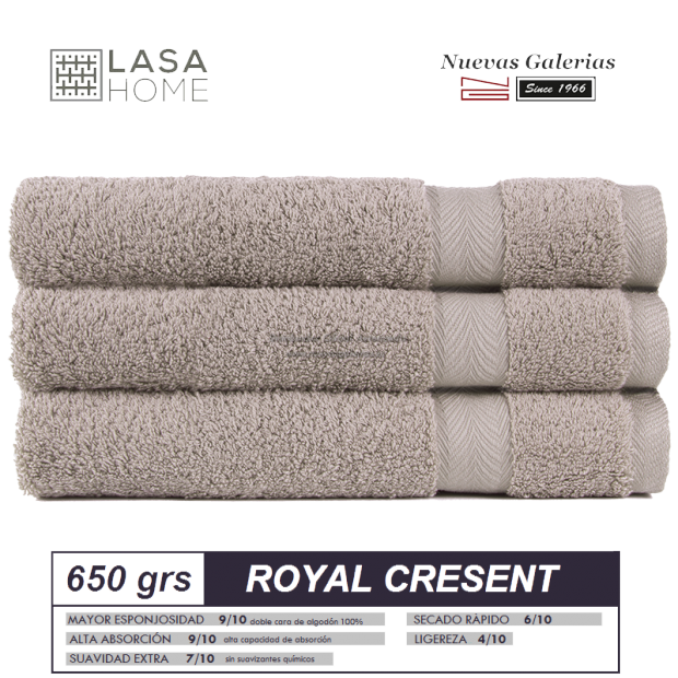 Toalla Algodón peinado 650 g / m² Gris piedra | Royal Cresent