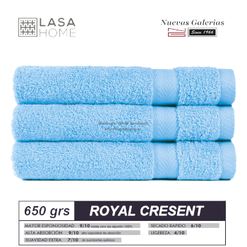 100% Cotton Bath Towel Set 650 gsm Sky Blue | Royal Cresent