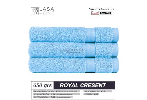 100% Baumwolle Handtuch Set 650 g / m² Himmelblau | Royal Cresent