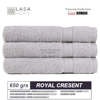 100% Cotton Bath Towel Set 650 gsm Platinum | Royal Cresent