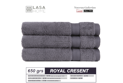 100% Cotton Bath Towel Set 650 gsm Steel Gray | Royal Cresent