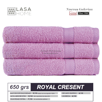100% Cotton Bath Towel Set 650 gsm Pink Lavander | Royal Cresent
