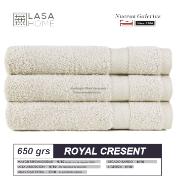 100% Cotton Bath Towel Set 650 gsm Gray beig | Royal Cresent