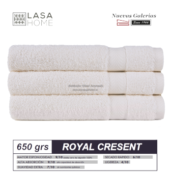 100% Cotton Bath Towel Set 650 gsm Cream | Royal Cresent