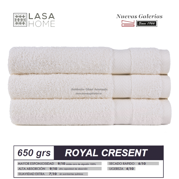 Toalla Algodón peinado 650 g / m² Crema | Royal Cresent