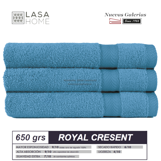 Serviettes 100% Coton 650 g / m² Bleu mer | Royal Cresent