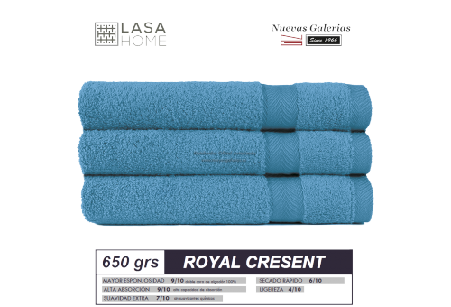 100% Cotton Bath Towel Set 650 gsm Blue sea | Royal Cresent