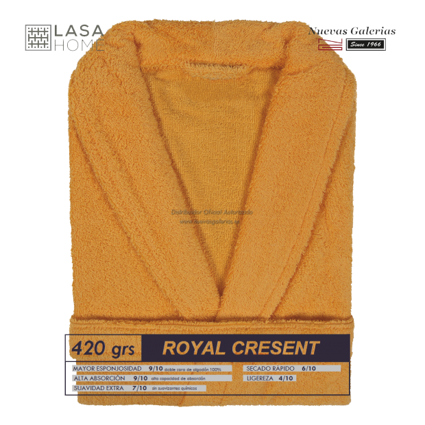 Albornoz cuello Smoking Amarillo Miel | Royal Cresent