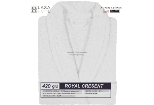 Albornoz cuello Smoking Blanco | Royal Cresent