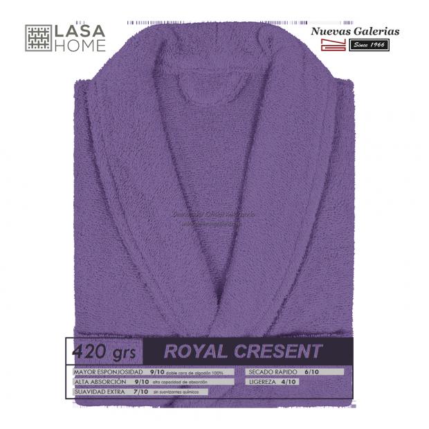 Peignoir col châle - Coton peigné Violet prune   Royal Cresent