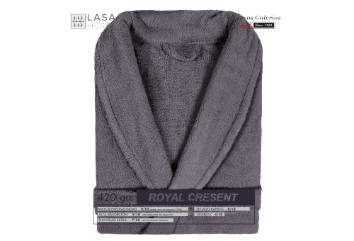 Bademantel Schalkragen Stahlgrau | Royal Cresent