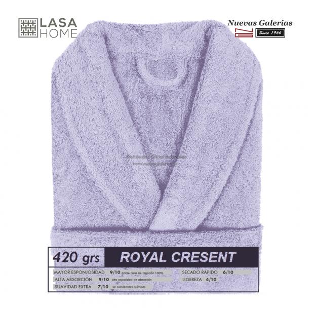 Peignoir col châle - Coton peigné Bleu lavande | Royal Cresent