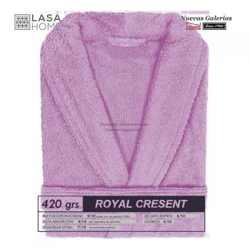 Peignoir col châle - Coton peigné Rose Lavande | Royal Cresent