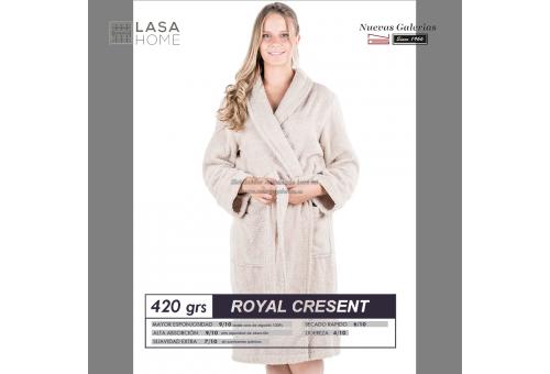 Peignoir col châle - Coton peigné Beig gris | Royal Cresent