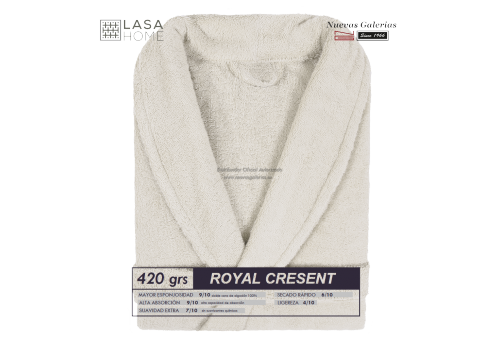 Albornoz cuello Smoking Gris beig | Royal Cresent