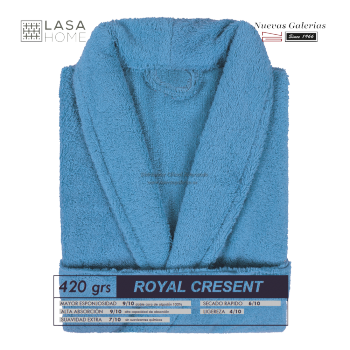 Albornoz cuello Smoking Azul mar | Royal Cresent