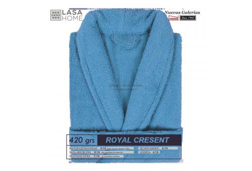 Peignoir col châle - Coton peigné Bleu mer | Royal Cresent