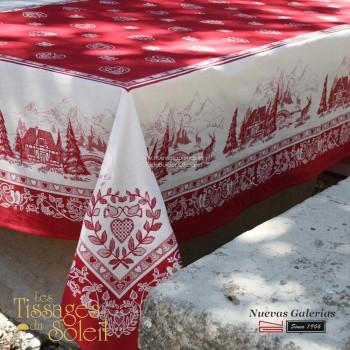 Table Cloth Les Tissages du Soleil | Megeve Red