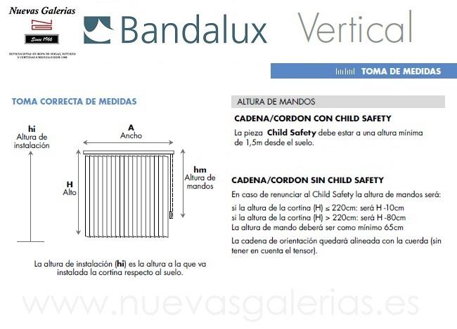 Información toma de medida Cortina Vertical Bandalux