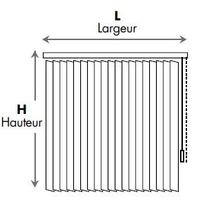 Dimensions de Stores à bandes verticales Bandalux
