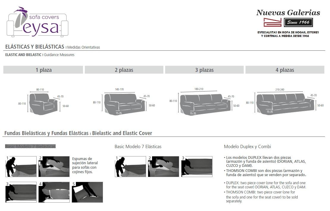 Medidas Fundas de Sofá Eysa Elasticas y Bioelásticas - Nuevas Galerias