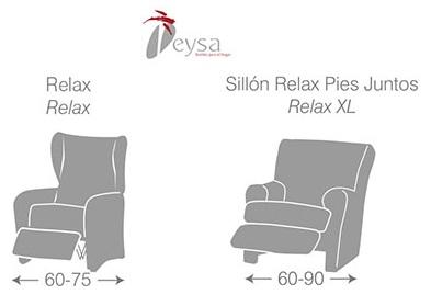 Medidas Fundas sillón Relax y Relax pies juntos de Eysa - Nuevas Galerias