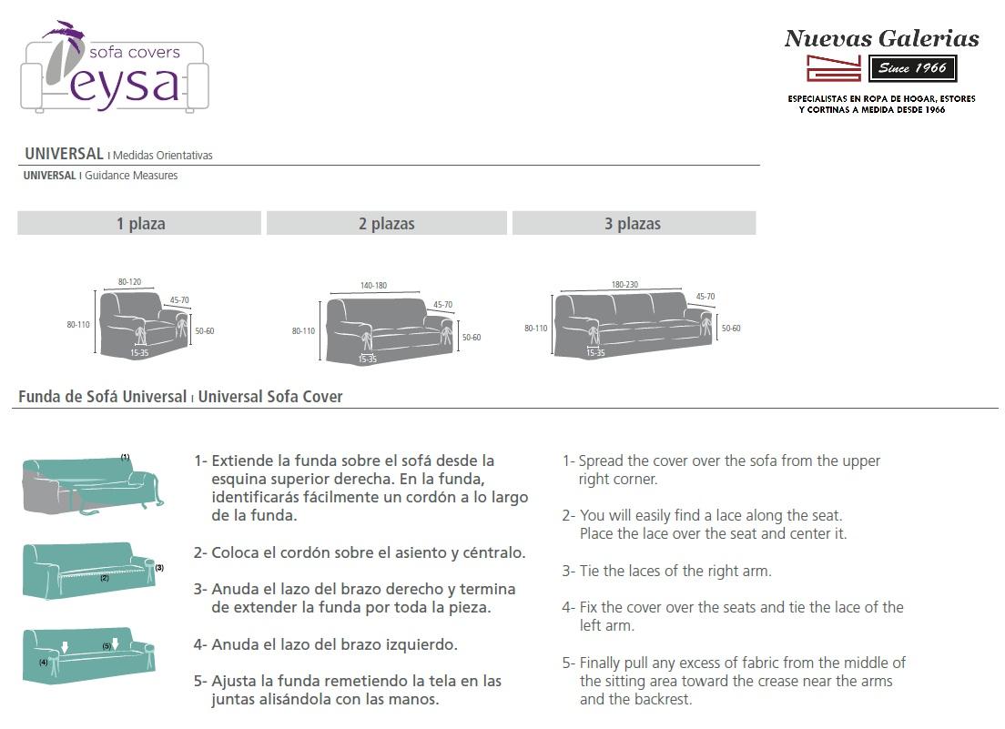 Medidas Fundas de Sofá Universales de EYSA - Nuevas Galerias