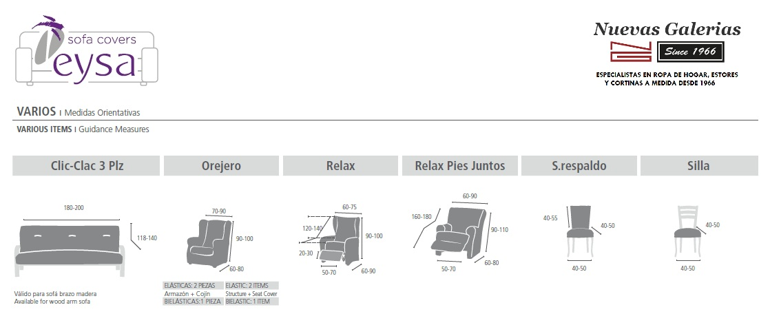 Medidas Fundas de Sofá Especiales de EYSA - Nuevas Galerias