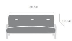 Medidas Fundas de sofa tipo clic clac modelo Aquiles de Eysa - Nuevas Galerias