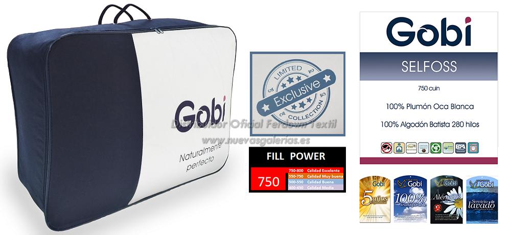 Presentación Relleno Nórdico 100% Oca Blanca Europea Ferdown linea Gobi Modelo Selfoss